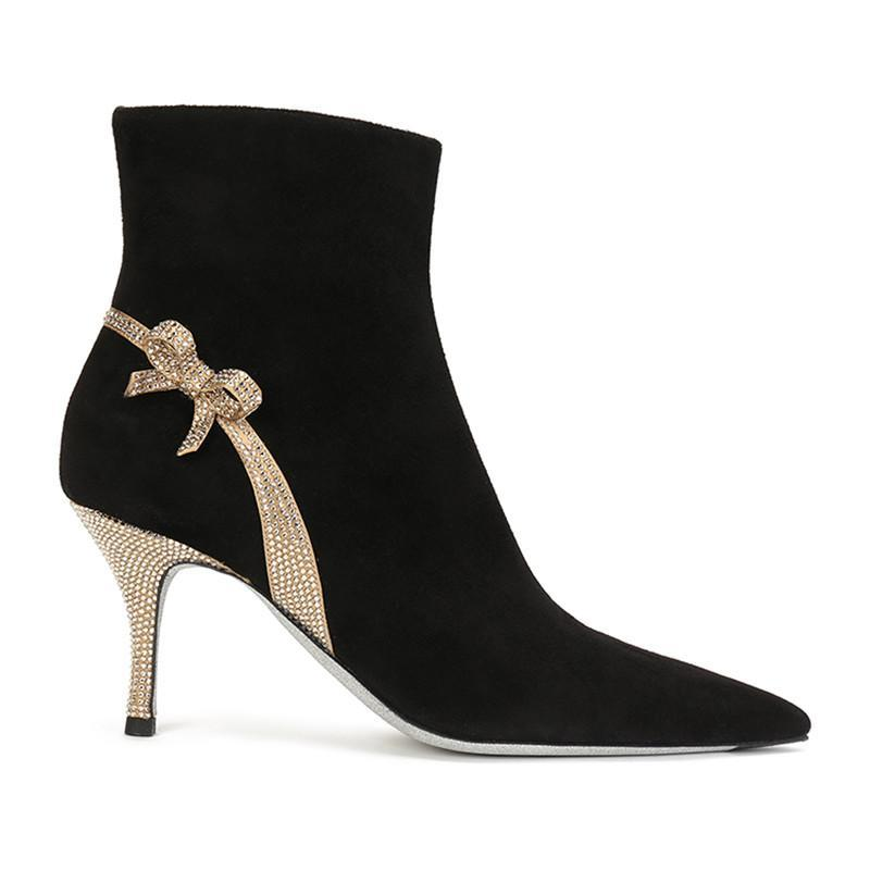 Inverno Botas Mulheres Preto Flock sapatos de salto alto Mulheres Sapato de bico fino Zip Deslizamento-em Botas Rhinestone Bow botas de mujer