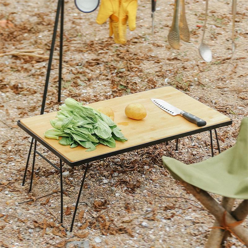 60x35x25cm Складная железная стола для стола питания многофункциональный чистый антисветляющий с бамбуковой доской барбекю открытый кемпинг деревянный стол