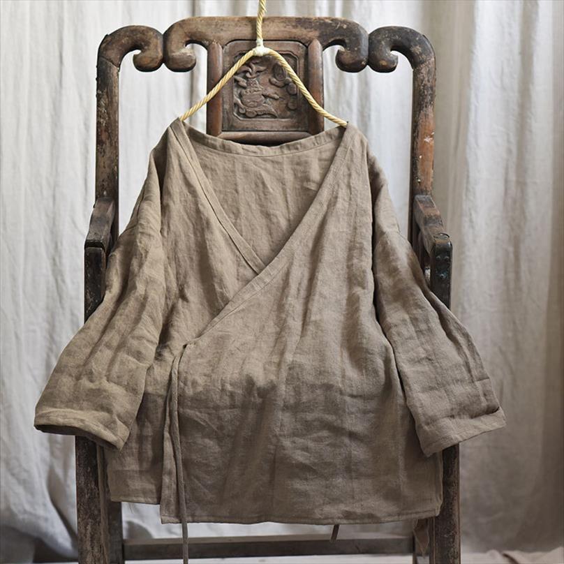 Женщина рубашка осень весенние хлопчатобумажные льняные оригинальные с длинным рукавом v шеи сплошной цвет винтажного пальто свободных женщин топы yoyikamomo