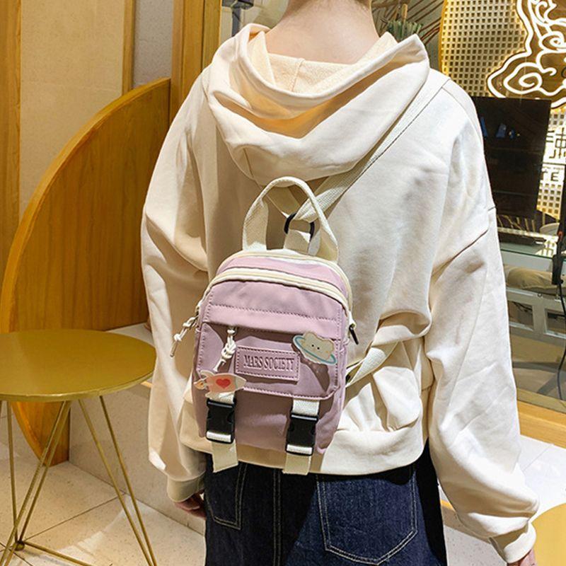 Cute Mini for Girl Shoulder Women Small Anime Bagpack Nylon Waterproof School Bag Student Pin Display Backpack H220 Q1113