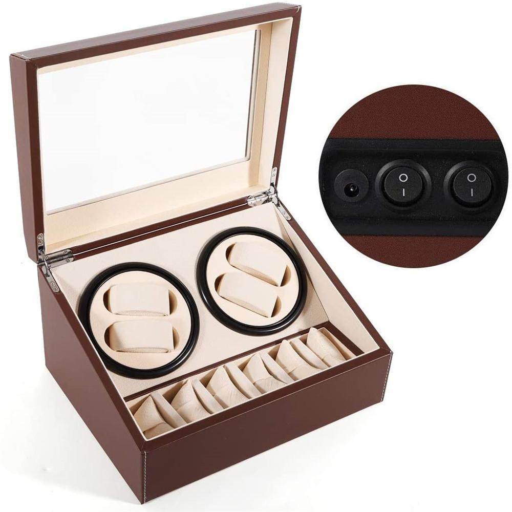 Автоматические часы намоталки дисплей, 4 + 6 кожаный вращающийся дисплей коробки роскошный корпус хранения (США)