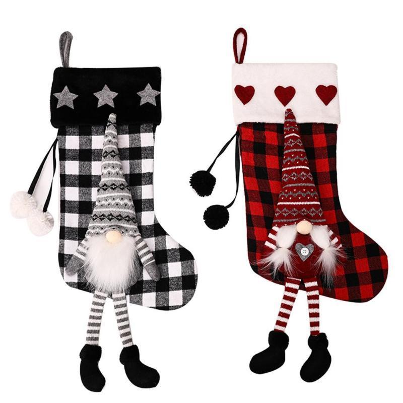 Новый год рождественский чулок мешок подарков конфеты мешок Рождественские украшения Для дома Носок дерева Декор чулок