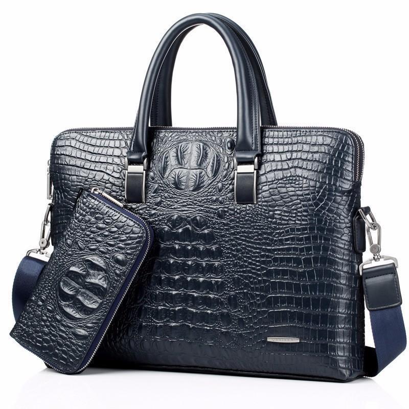 HBPblue Crocodile Genuine Leather laptop bag Male Top-handle Men Messenger Bags Alligator Shoulder Tote Masculina vintage briefcase Q0112