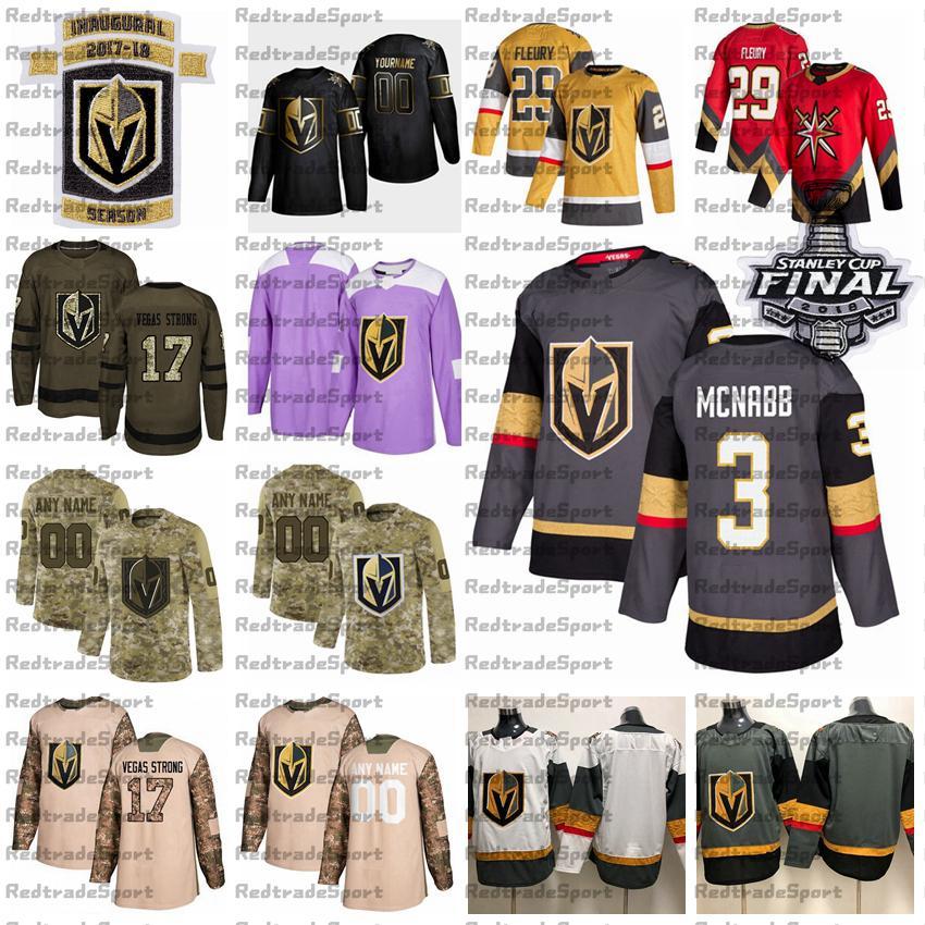 2021 Reverse Retro Customize 3 Brayden McNabb Vegas Golden Knights Hockey Jersey Golden Edition Camo Veterans Day Fights Cancer Purple Shirt