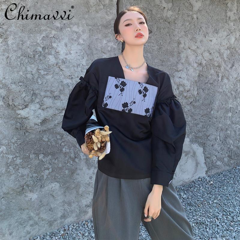 Blusas para mujer Camisas 2021 Primavera High Street Vintage Black Jersey Camisa Jacquard Patch Stitching Burbuja de manga larga Top Mujeres Blusas