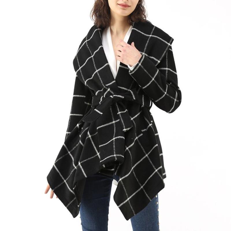 Kadın Turn Down Yaka Yün Karışımı Şal Ceket Güz Kış Polar Ekose Giyim Uzun Kollu Sıcak Aşınma