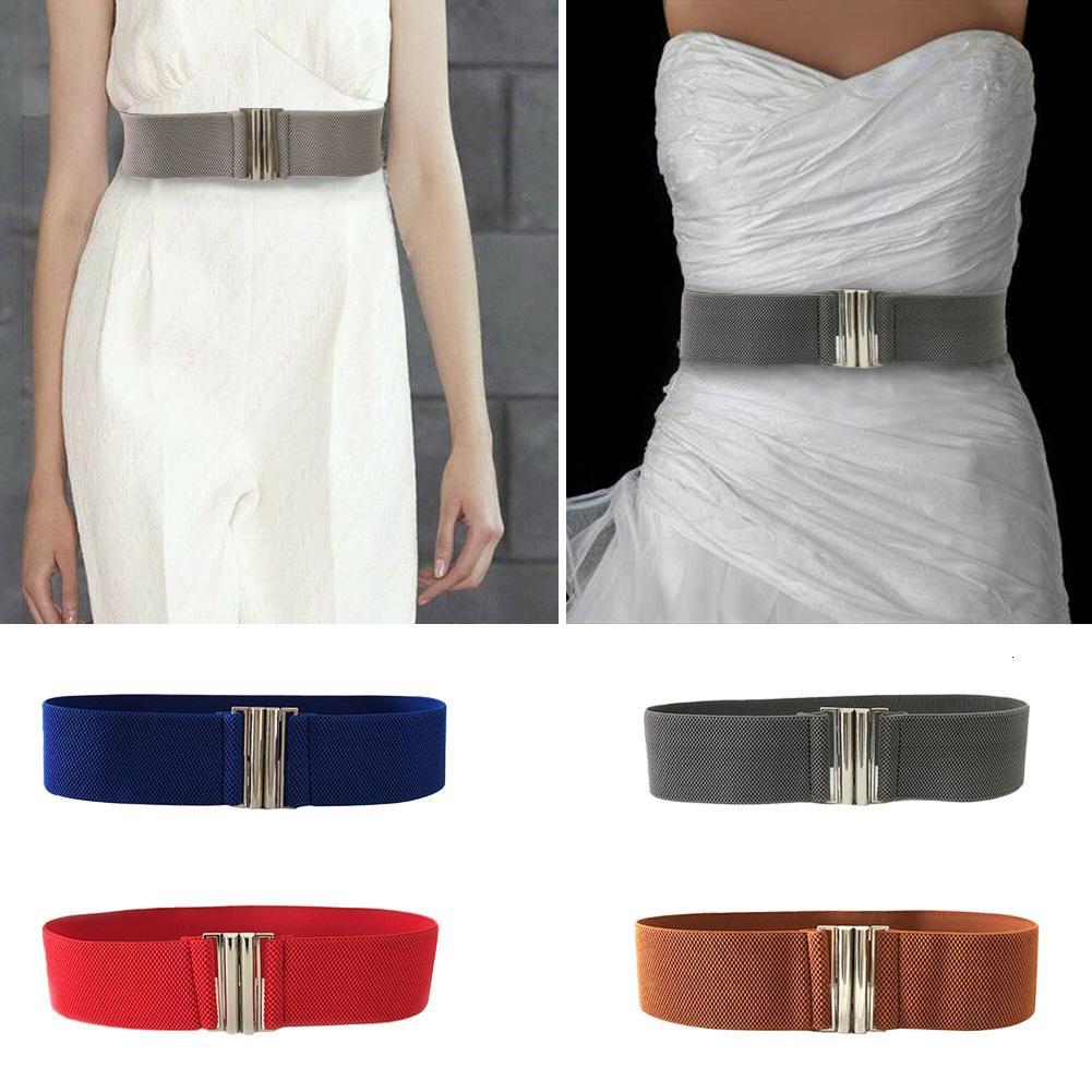 Signore cinturino dell'inarcamento di stirata di modo di stile coreano accessori trimmer Solid morbida cintura Donne durevole elastico in vita metallo