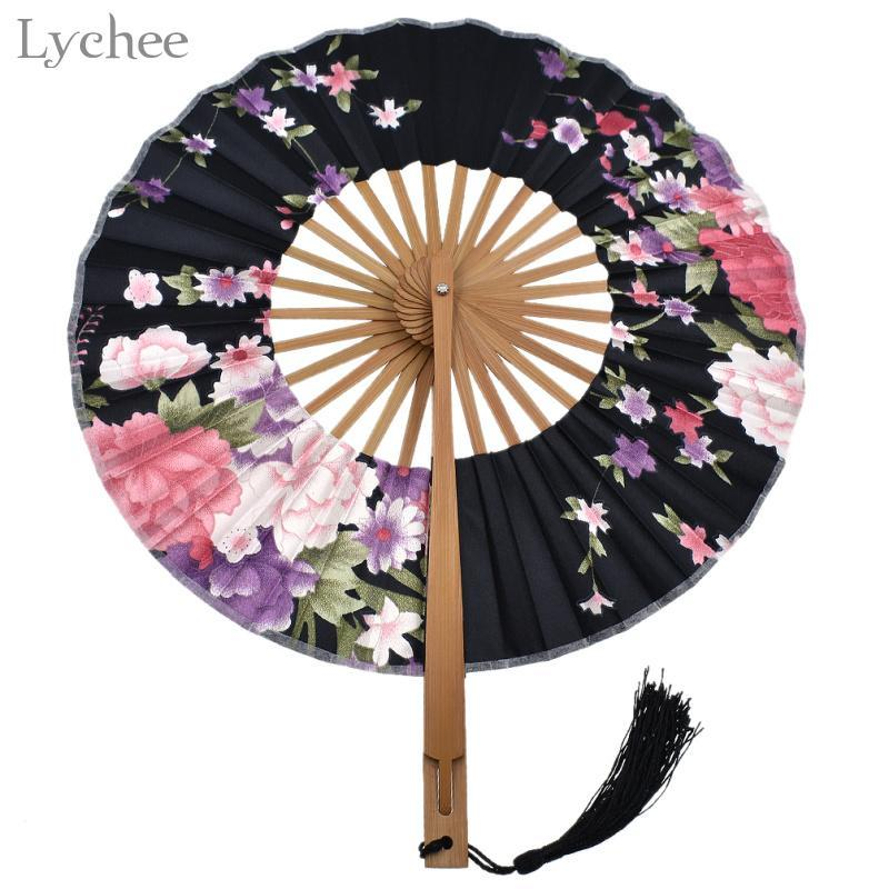 Favor lichi 1pc del estampado de flores japonés ventilador plegable de bambú Tela de bolsillo Fan Party regalo de boda