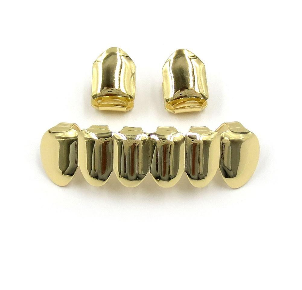 18k Gold Plated Copper Teeth Braces Plain Hip Hop Up 2 Bottom 6 Teeth Grillz Dental Mouth Fang Grills Tooth Cap Co wmtuFn dayupshop