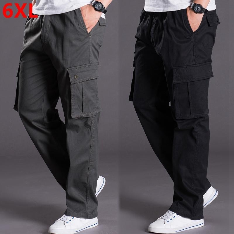 Осенью и зимой большой размер толстый XL мужские брюки комбинезоны брюки свободные карманные плюс размер мужчин случайные брюки мужчины 6XL 5XL 4XL 3XL 2XL