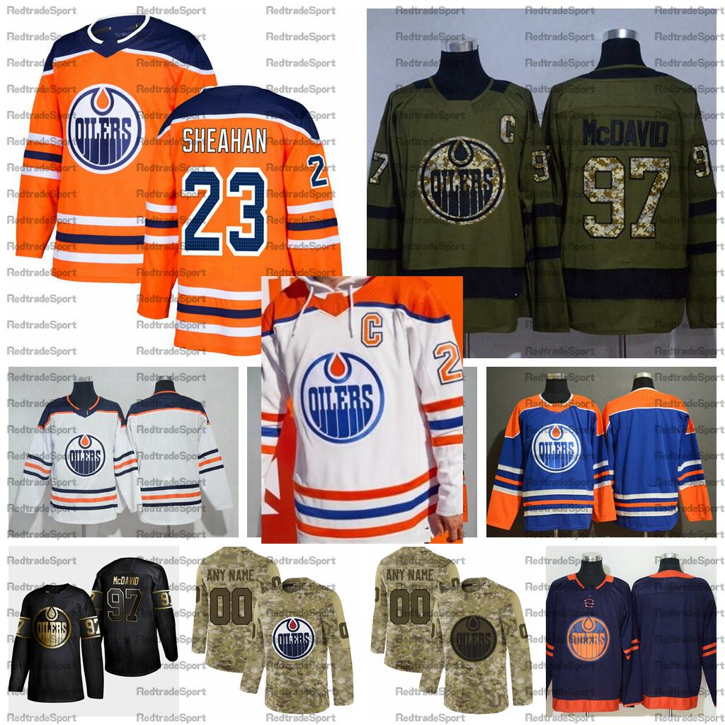 2021 Reverse Retro customize #23 Riley Sheahan Edmonton Oilers Hockey Jerseys Golden Edition Camo Veterans Day Fights Cancer Shirts