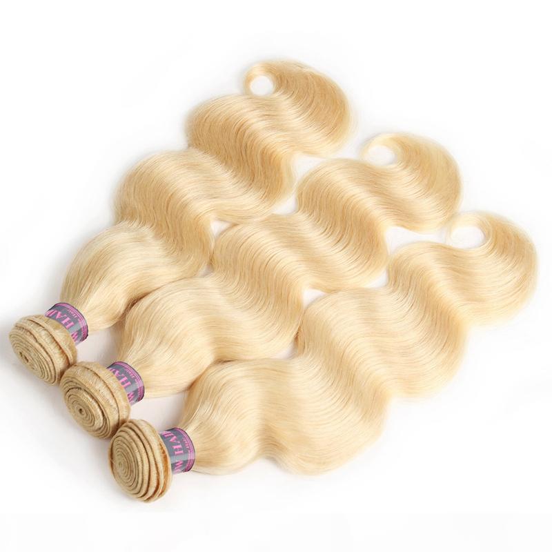 Vendedora caliente del cuerpo de la onda brasileña trama del pelo humano 613 Rubio 4PCS del pelo mucho peruana de Malasia armadura india del pelo humano del envío de lotes