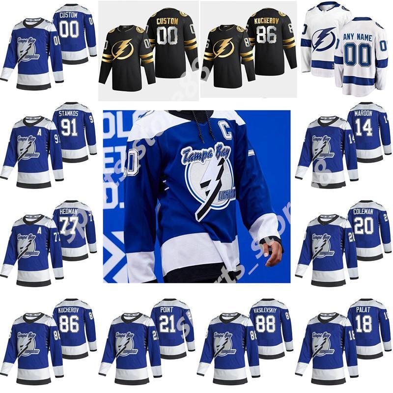 Tampa Bay Lightning 2021 Reverse Retro Jersey Erik Cernak Mathieu Joseph Conacher Braydon Coburn Dan Girardi Blue Hockey Jersey Custom
