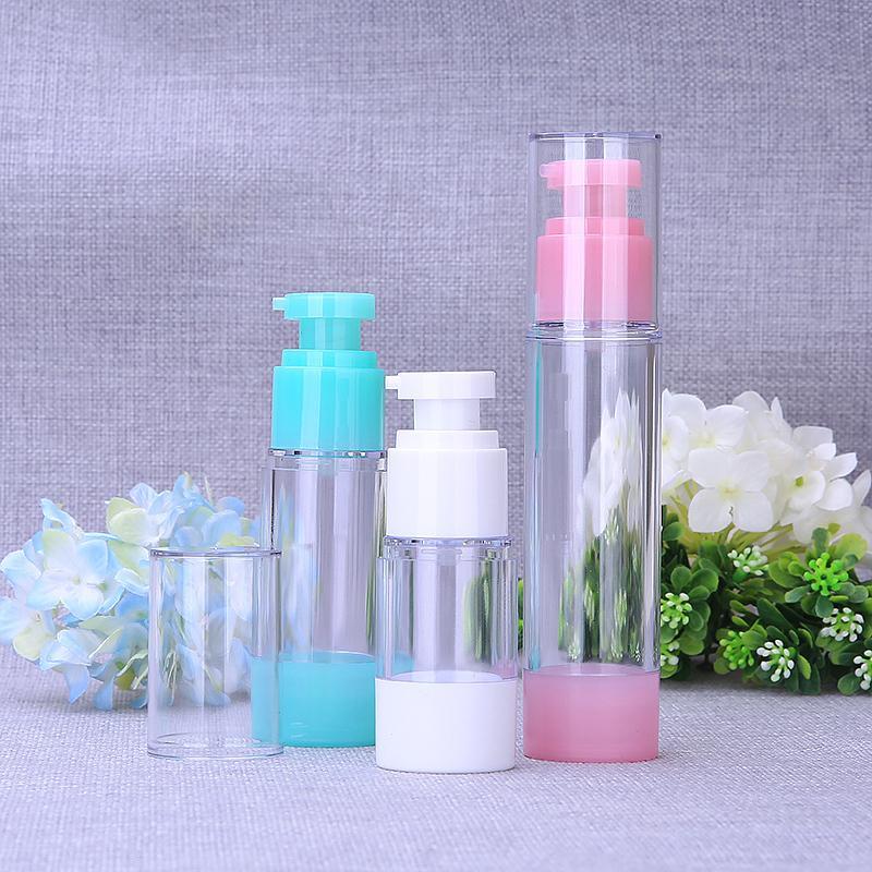 30 pcs 15 ml 30 ml 50 ml de pompe sans air vert rose clair de la pression en plastique de la pression d'émulsion d'émulsion d'émulsion d'émulsion d'emballage cosmétique
