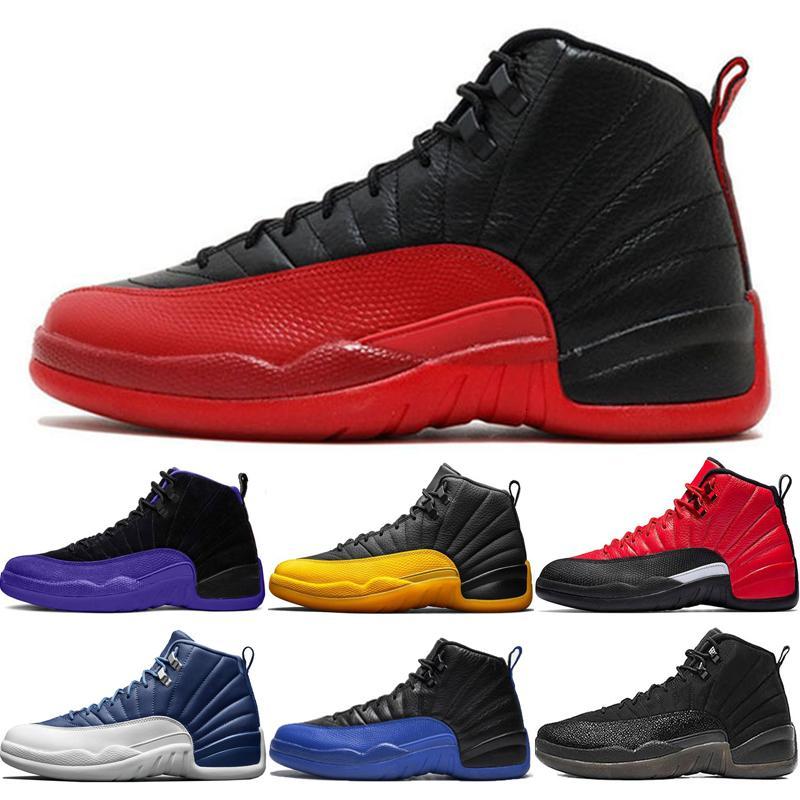 Flu Jeu pas cher Chaussures Hommes 12s pour Basketball noir Gamma Université Gold Stone Concord Blue Bulls Gym Red Sneakers Eur 40-47 78q6 Hdgy