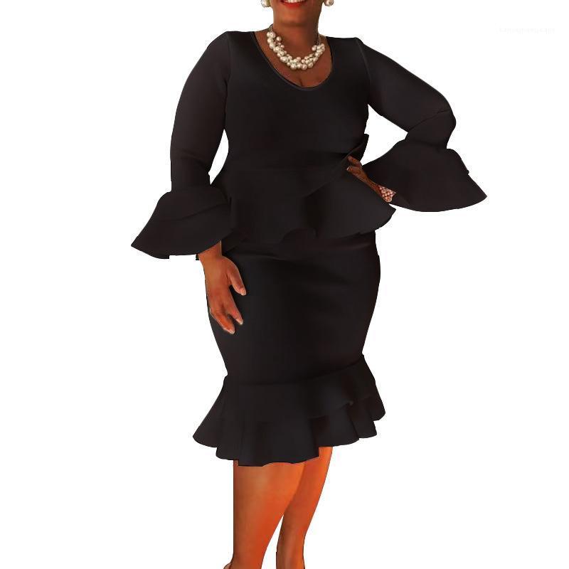 Designer Robes à manches longues encolure ras du cou Ruffle robes de mode vestimentaire décontracté femmes Vêtements pour femmes Printemps Automne