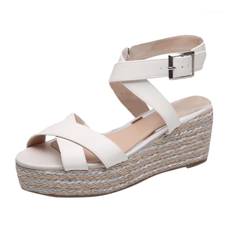 SAGACE Mujer Sandalias Sandalias Summer Ladies Moda Cross Cross Cintura Hebilla Playa Hembras Zapatos Tejidos Partido Grueso Sandalias Casuales1