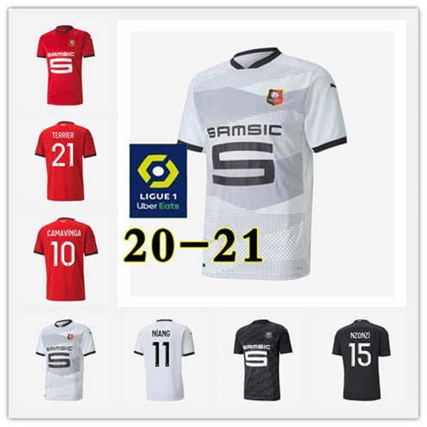 Kinder Stade Rennais CAMAVINGA TERRIER maillots de foot 2020 21 Rennes RAPHINHA Fußball-Trikot Bourigeaud NIANG HUNOU TERRIER Fußballhemd 3
