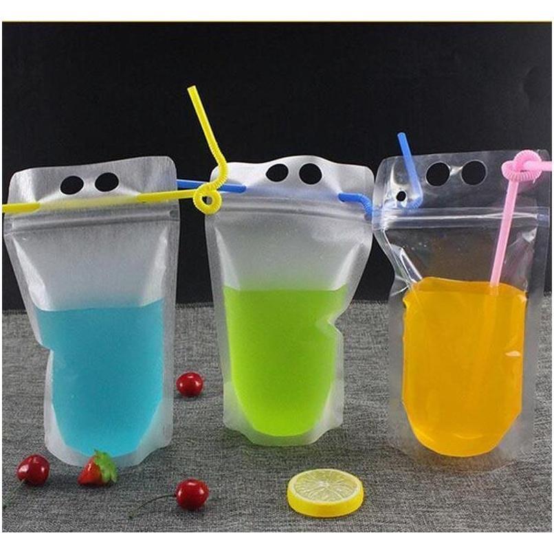 17oz 500ml Bolsas de bebidas claras Bolsas con cremallera helada Soporte de plástico Bolsa de consumo de plástico con paja con el titular Reclos Jllury Bdebag
