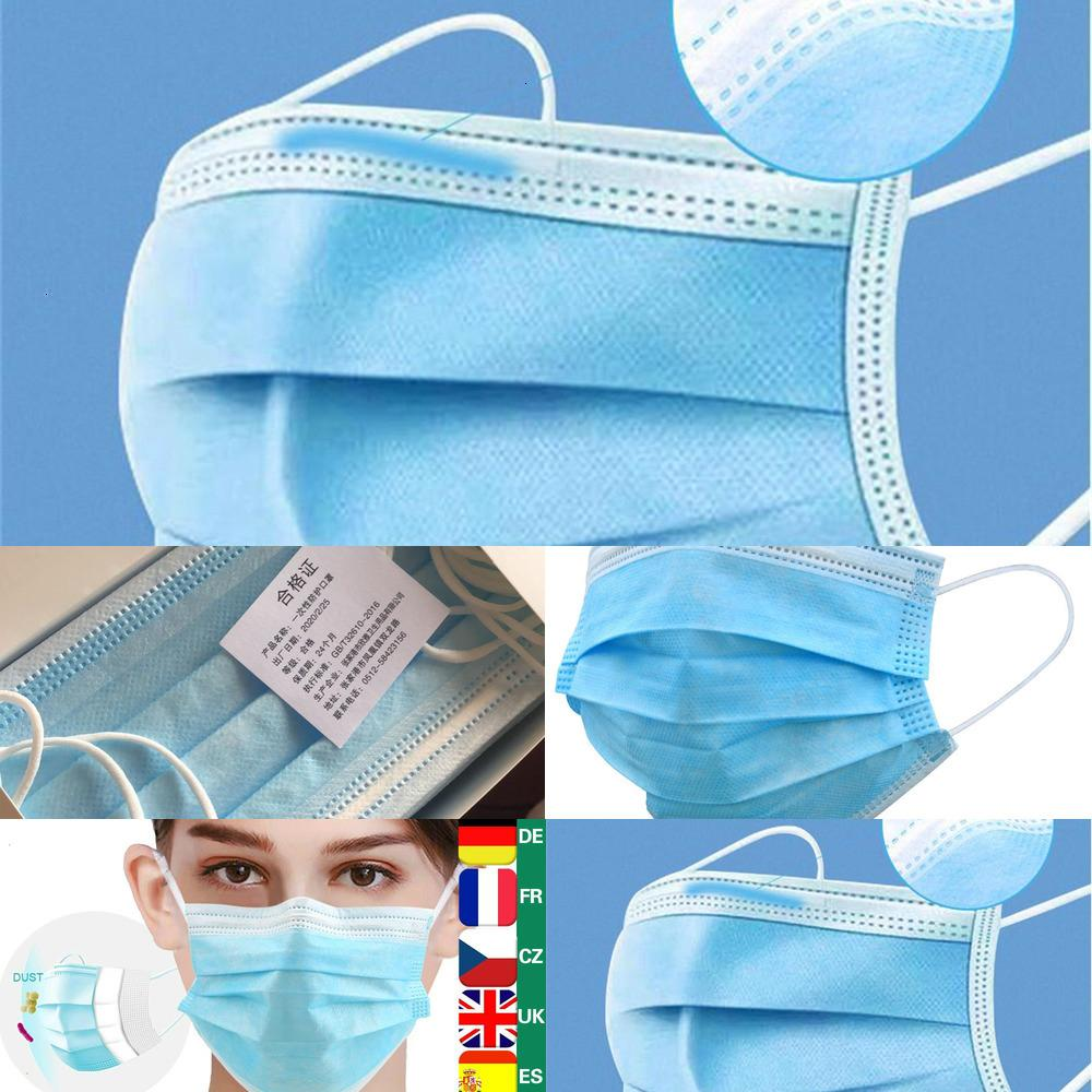 Mask high quality 3 layer Disposable Masks Mouth Face Mask Facemask Protective Protection Non-woven Breathable Bacteria ProofY9