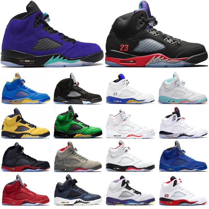 HOT jumpmen 5 Herren-Basketball-Schuhe Alternate Grape Blue Suede Camo Indoor-Outdoor-Art und Weise Allgleiches Sport Trainer Schuhe Turnschuhe
