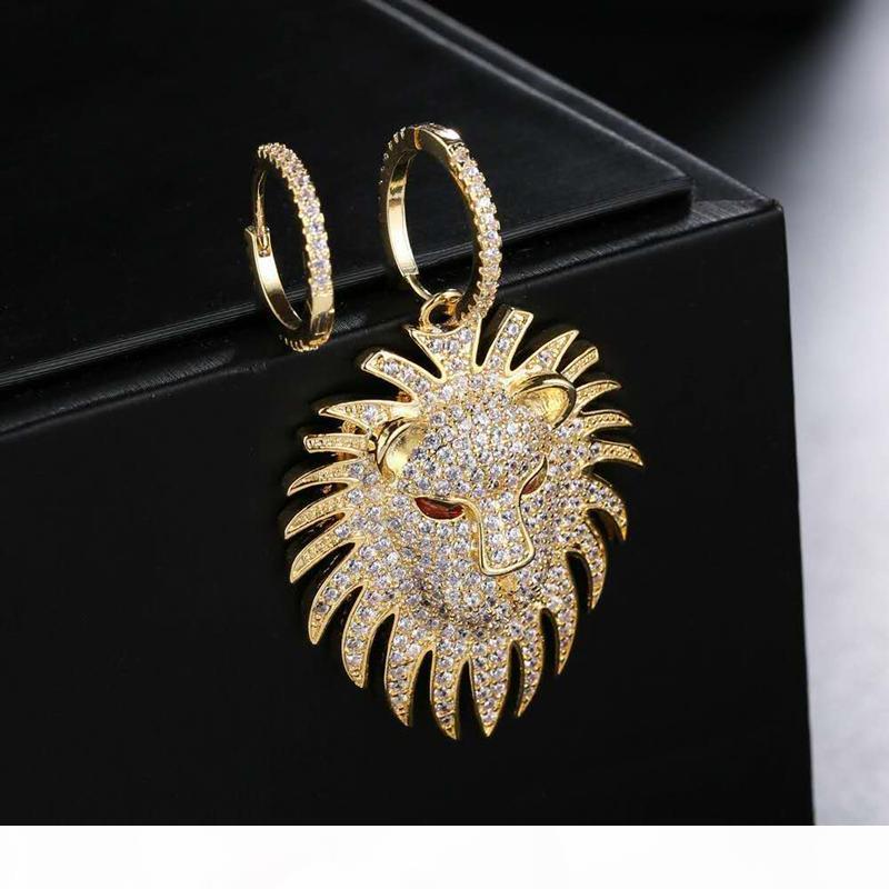 Yeni Moda Kadınlar Küpe Sarı altın kaplama cz Aslan Başkanı Küpe Kız Kadınlar Güzel Hediye