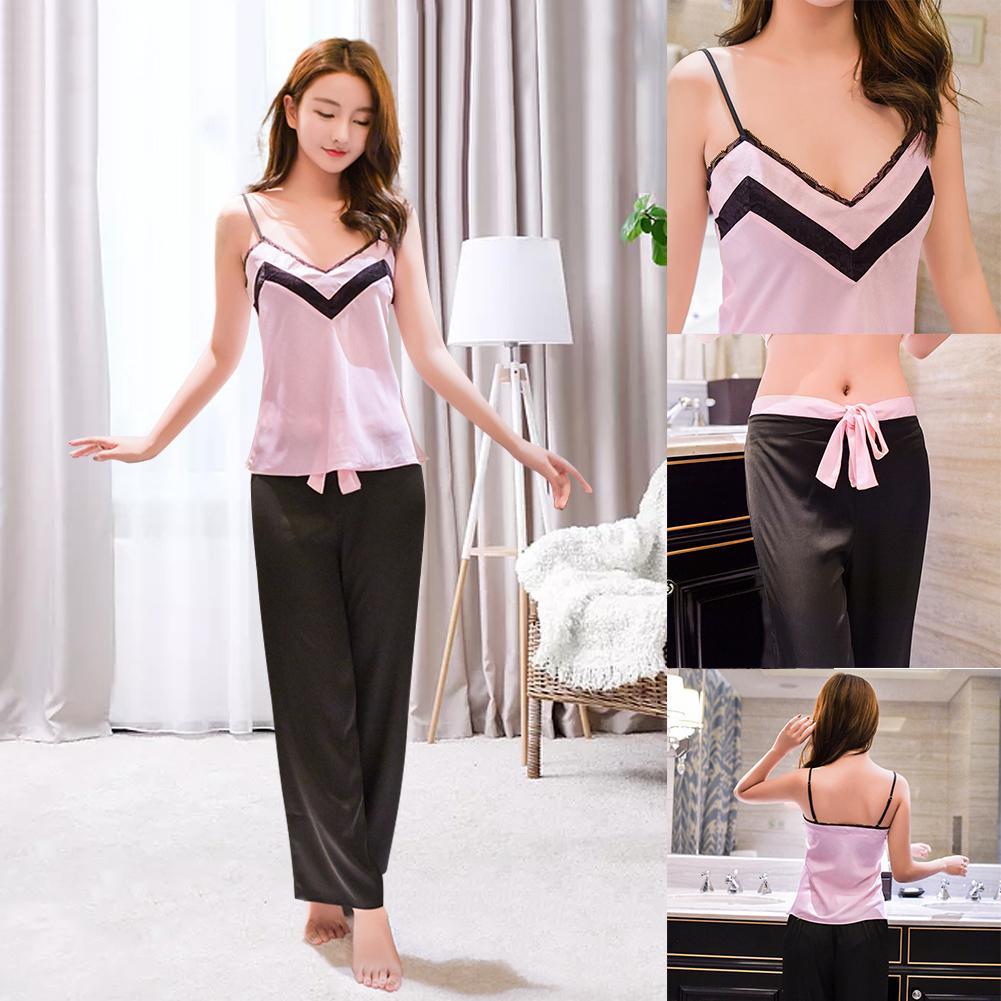 Fadzeco женские пижамы Sexy Saline Pajama набор V-образным вырезом пижамы без рукавов во втором куском ночные белья Cami и брюки установить домашнюю одежду