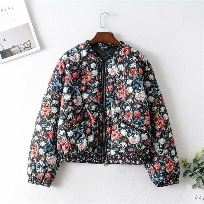 Vintage Chic Damen Blumendruck Parkas Mode Herbst Weibliche Bomber Jacke Reißverschluss Stehkragen Casual Oberbekleidung Streetwear 201019