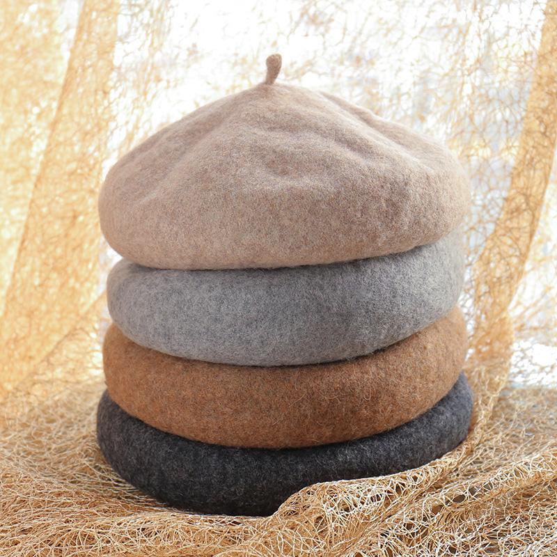 Berets Wool Beret Hat Francuski Styl Beanie Czapki Moda Panie Solidne Color Caps Outdoor Winter @ 88