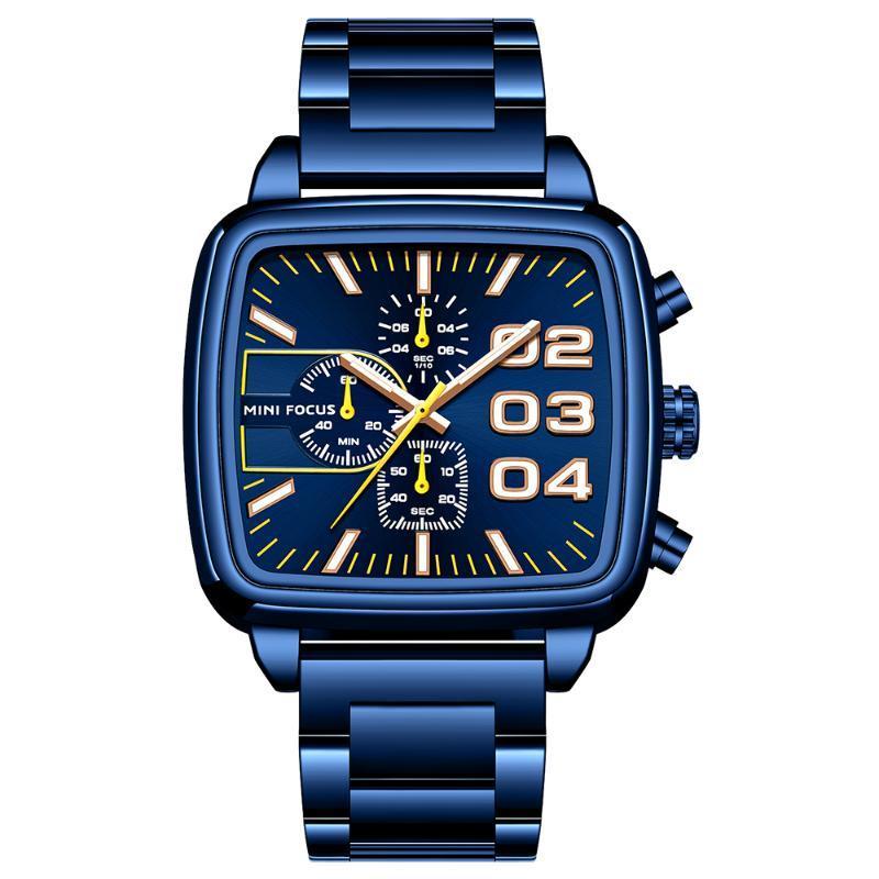 MINI ФОКУС мужской моды Часы из нержавеющей стали хронограф Многофункциональный Кварцевые водонепроницаемые наручные часы Luminous