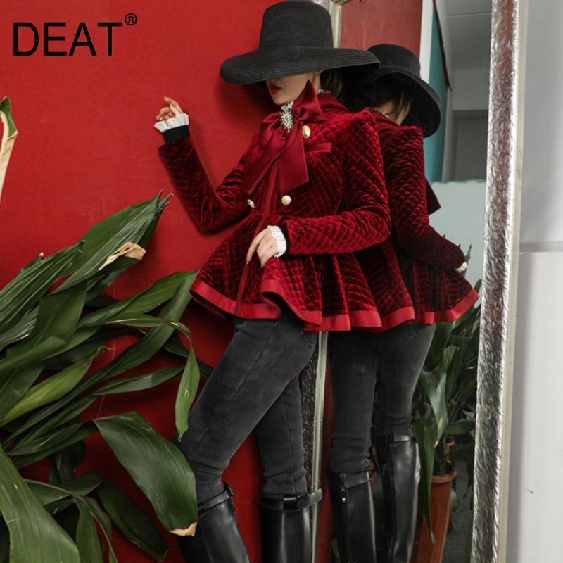 NEW зимней моды высокие улице женской одежды Тонкий однобортный лук воротник бархатные полные рукава короткие куртки WK 200929