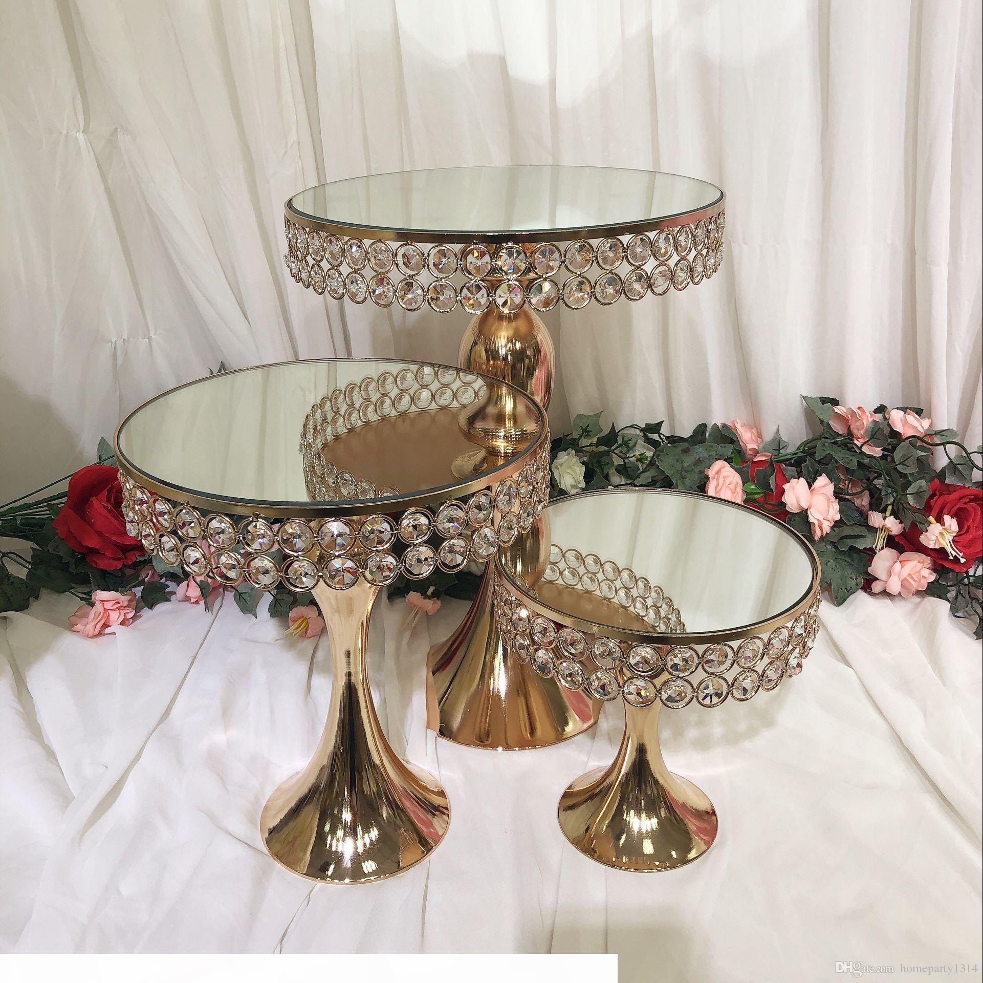 الفاخرة الكريستال الزفاف طويل القامة مرآة كعكة المركزية عرض حامل حامل فندان المعكرون كب كيك الجدول candybar الجدول كعكة تزيين