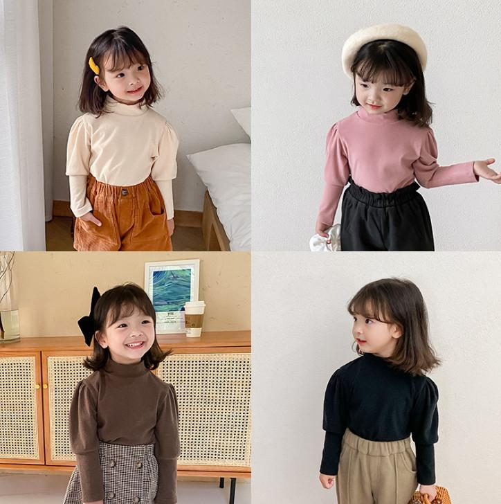 INS Winter New Girls Long Sleeve T-shirt Kids Cotton Puff Sleeve Princess Tops Children High Collar All-Match Bottoming Shirt A4739