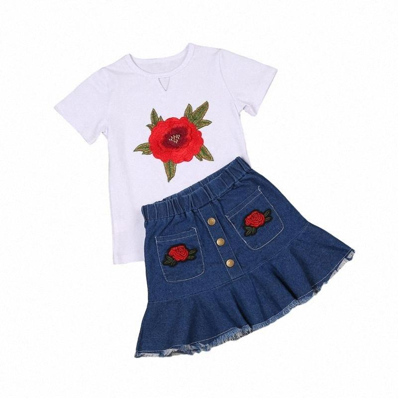 Abbigliamento bambino di estate Tollder vestiti della ragazza breve insieme del manicotto della Rosa ricamo Top + Demin Gonne 2pcs Size 1-6Y 25kQ #