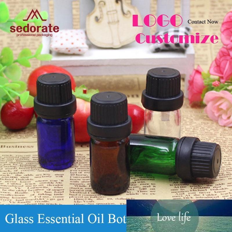 Sedorate 50 unidades / lote Mini frasco de vidro Para Essencial 5ML Oil Vial furo interno plug rolha de vidro recarregáveis garrafas ZM029