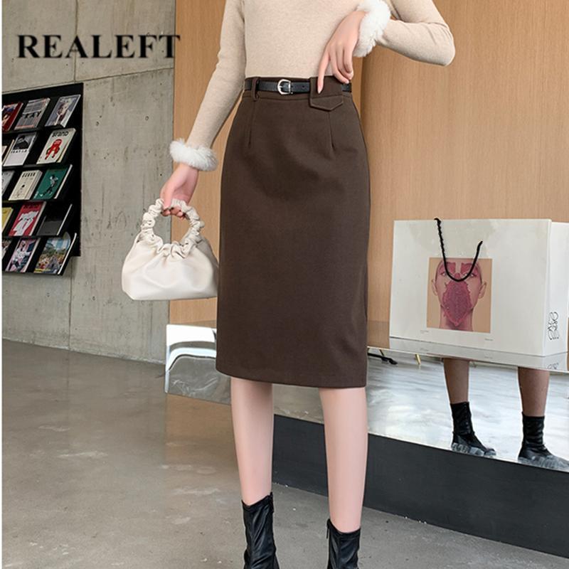 REALEFT Nuevos 2020 otoño invierno de lana Faldas Midi con mujeres de la correa de cintura alta Wrap vaina Faldas lápiz Volver Dividir Mujer