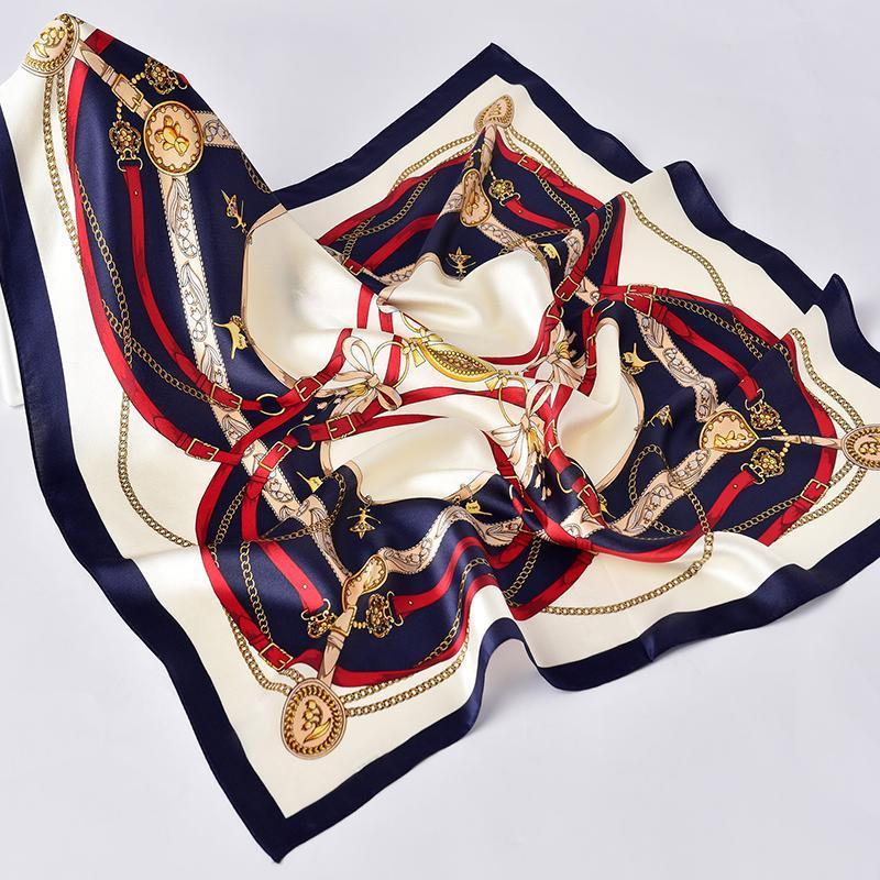 Écharpe carrée 100% Silk pour femmes 65x65cm Beautiful Design Motif imprimé Luxe de luxe élégant Kerchief mouchoir réel