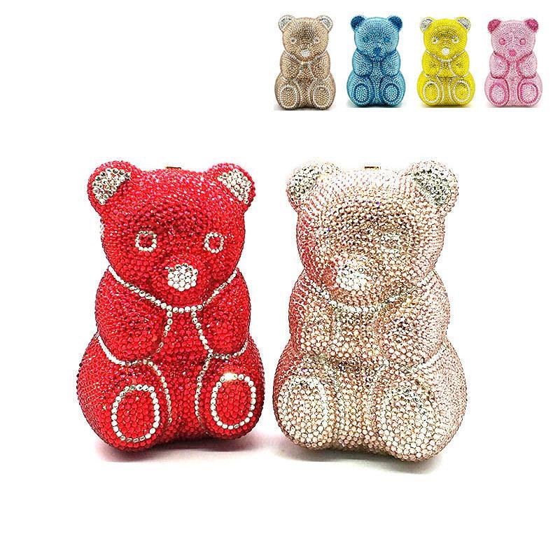 Bridal wedding women evening party bag animal cute lovely Teddy bear top quality clutches elegant classical crystal purses Q1113