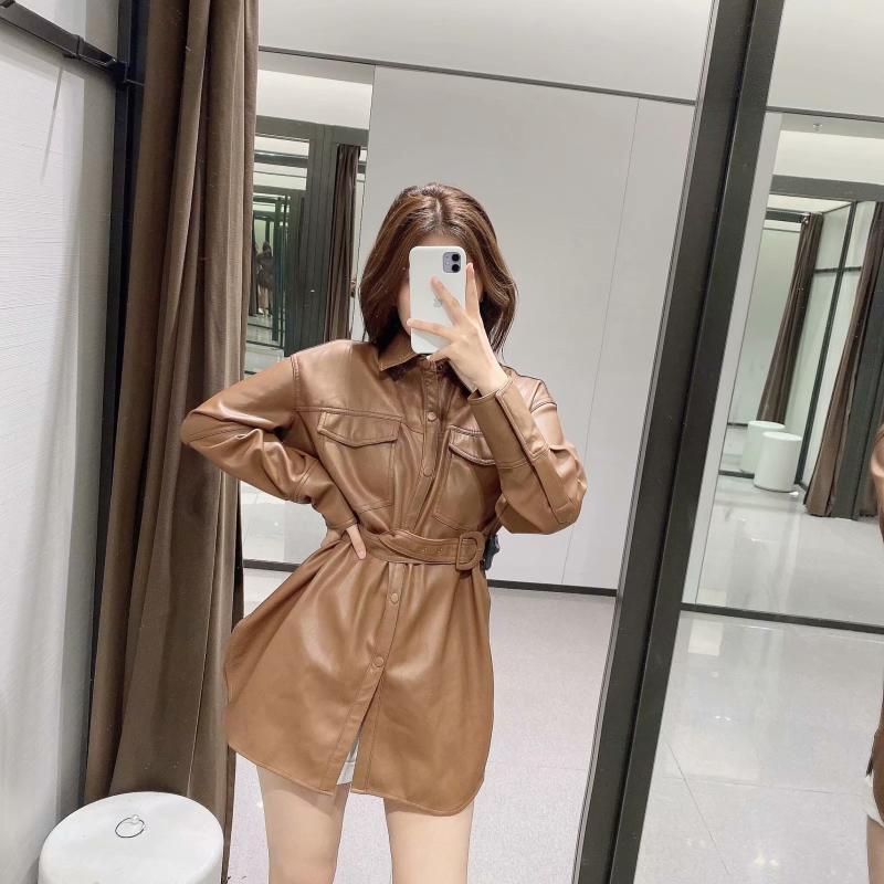 Nouvelle chemise en cuir d'imitation de courroie solide française
