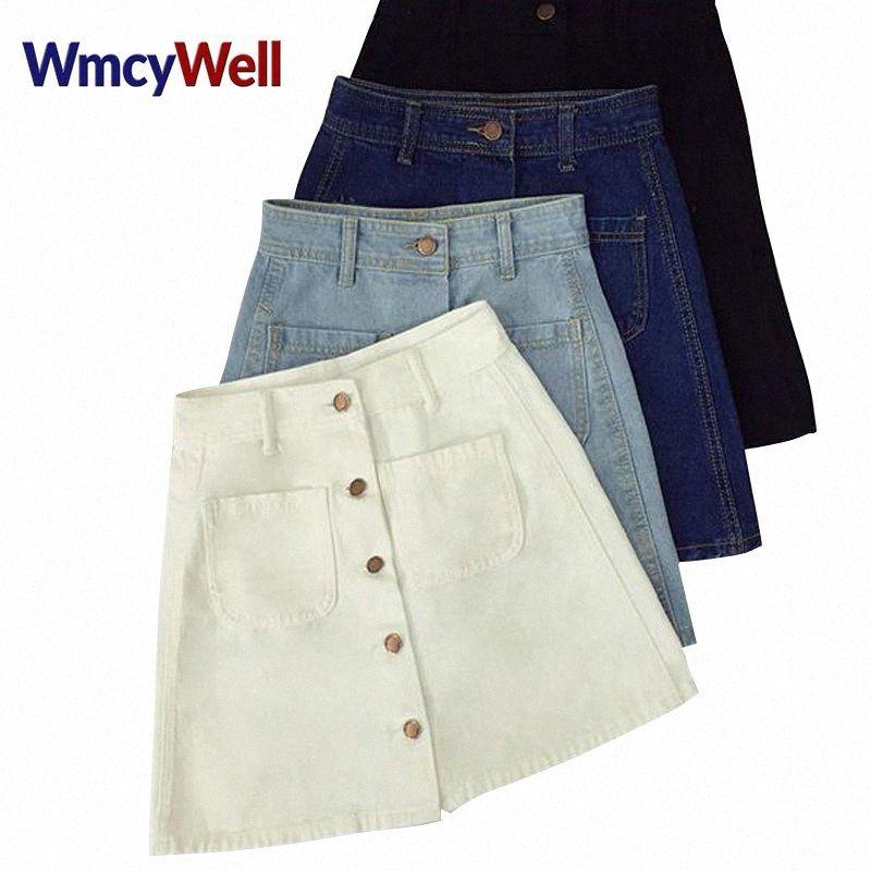 WmcyWell 2018 Verão Womens Ladies A-line Feminino Botão Pencil Denim Min saia de cintura alta Jeans linha com dois bolsos da saia ogdE #