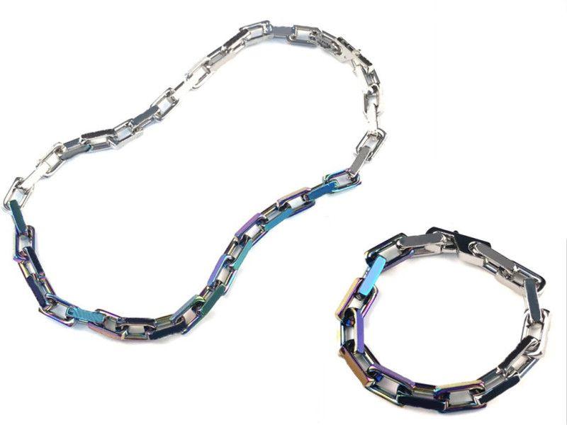Ожерелье Браслет для мужчин Женщина Кулон Ожерелья Мода Унисекс Цепочка Браслеты Ювелирные Изделия 5 Цвет