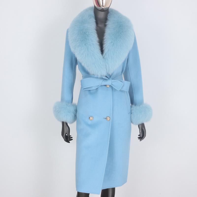 BluenessFair Cashmere lã mistura casaco de pele real casaco de inverno duplo jaqueta de inverno grande mulheres grande raposa colar de pele outerwear 210204