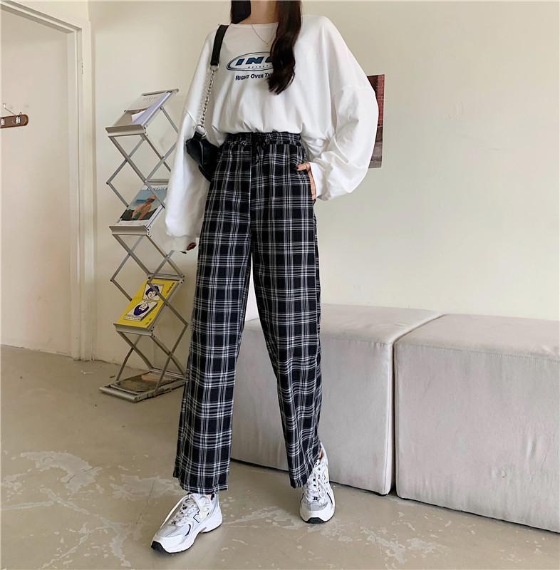 Pantalones de tela escocesa de mujeres Pierna ancha de moda Largo Casual Elástico Elástico Pantalones de cintura alta japonesa Harajuku suelto Culotte Pantalones