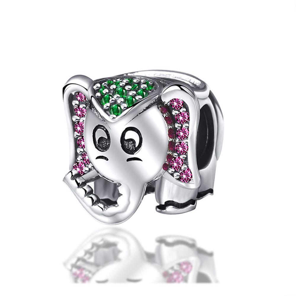 Подвески Популярные S925 серебро Алмазный слон животных из бисера браслет Сыпучие бусины аксессуары Производители оптом