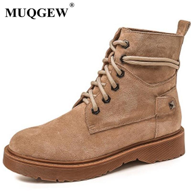 Size 34-43 autunno Donne Stivaletti mucca Suede peluche di inverno caldo neve stivali signore del motociclo Zapatos De Mujer