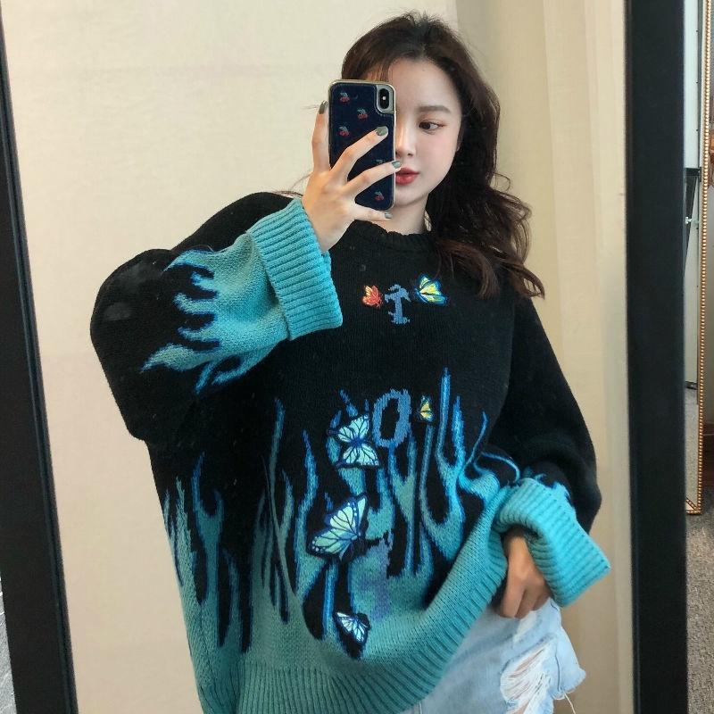 Осень зима Harajuku пламя вязать свитер бабочка аппликация женщин пуловер повседневный свободный свитер женщины мужчина уличная одежда Y200720