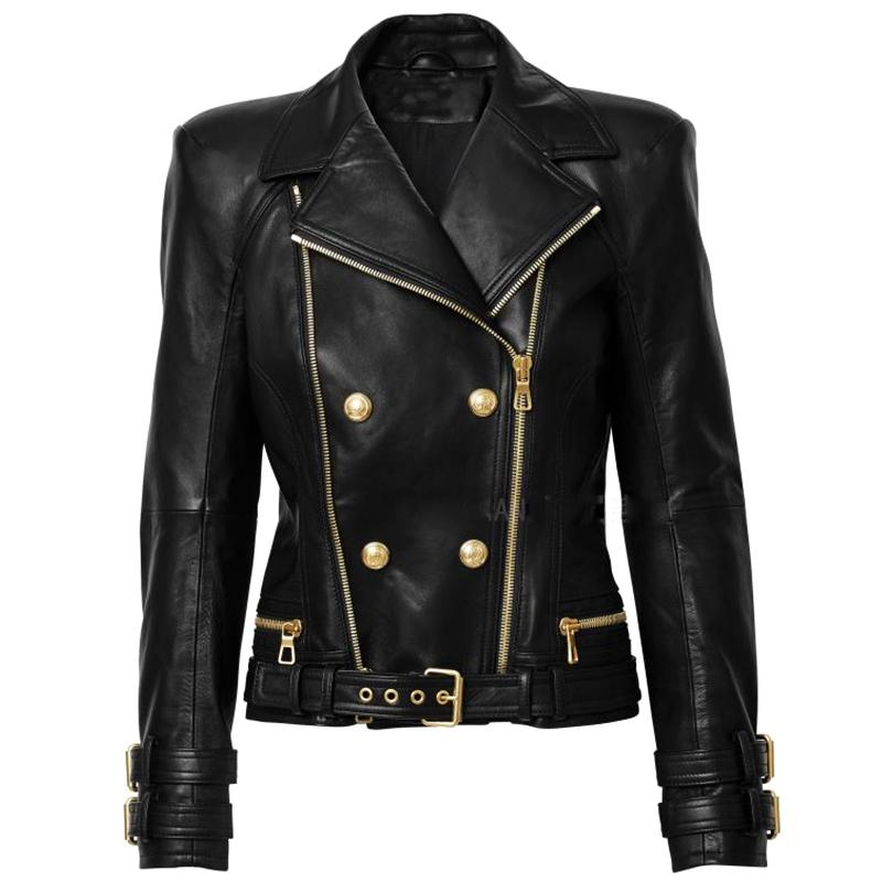 HIGH STREET New Designer Jacket Women's Lion Buttons Double Zippers Motorcycle Biker Synthetic Leather Jacket 201016