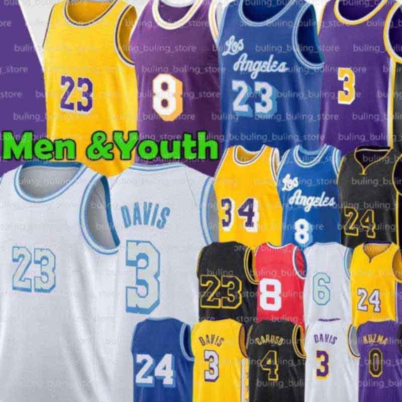 8 33 Maglie Alex 4 Caruso Los 23 6 Angeles Anthony Kyle Davis Uomo Black LBJ Kuzma Retro Gioventù Bassa Merion 2021 Nuovo basket