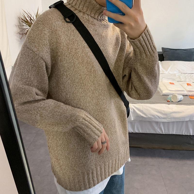 Мужской сплошной цвет зимний теплый свитер корейский уличная мода мода пуловеры вскользь негабаритную одежду человека