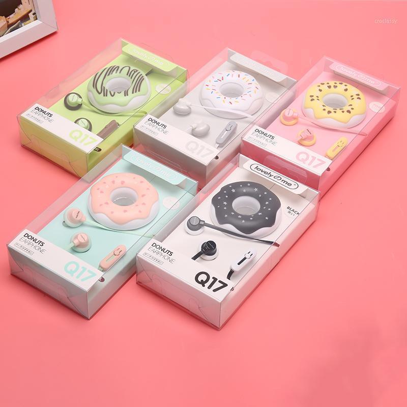 Fones de ouvido fones de ouvido 3.5mm em-ouvido bonitos macarons donut desenhos animados fone de negócios Q17 branco / rosa / verde / azul / preto / hortelã verde portátil